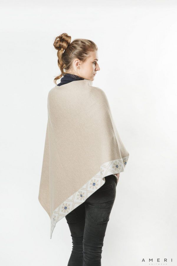 "Poncho ""Laimdota"" with Latvian Ornament"