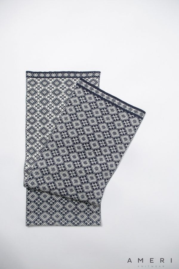 2 Colour Jacquard Scarf with Latvian Ornaments