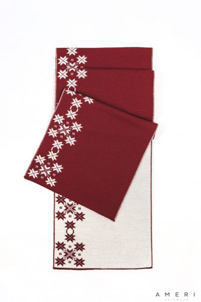 Scarf with Vertically Knitted Latvian Ornaments