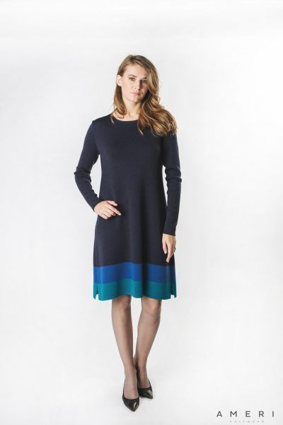 Merino Dress with Stripes