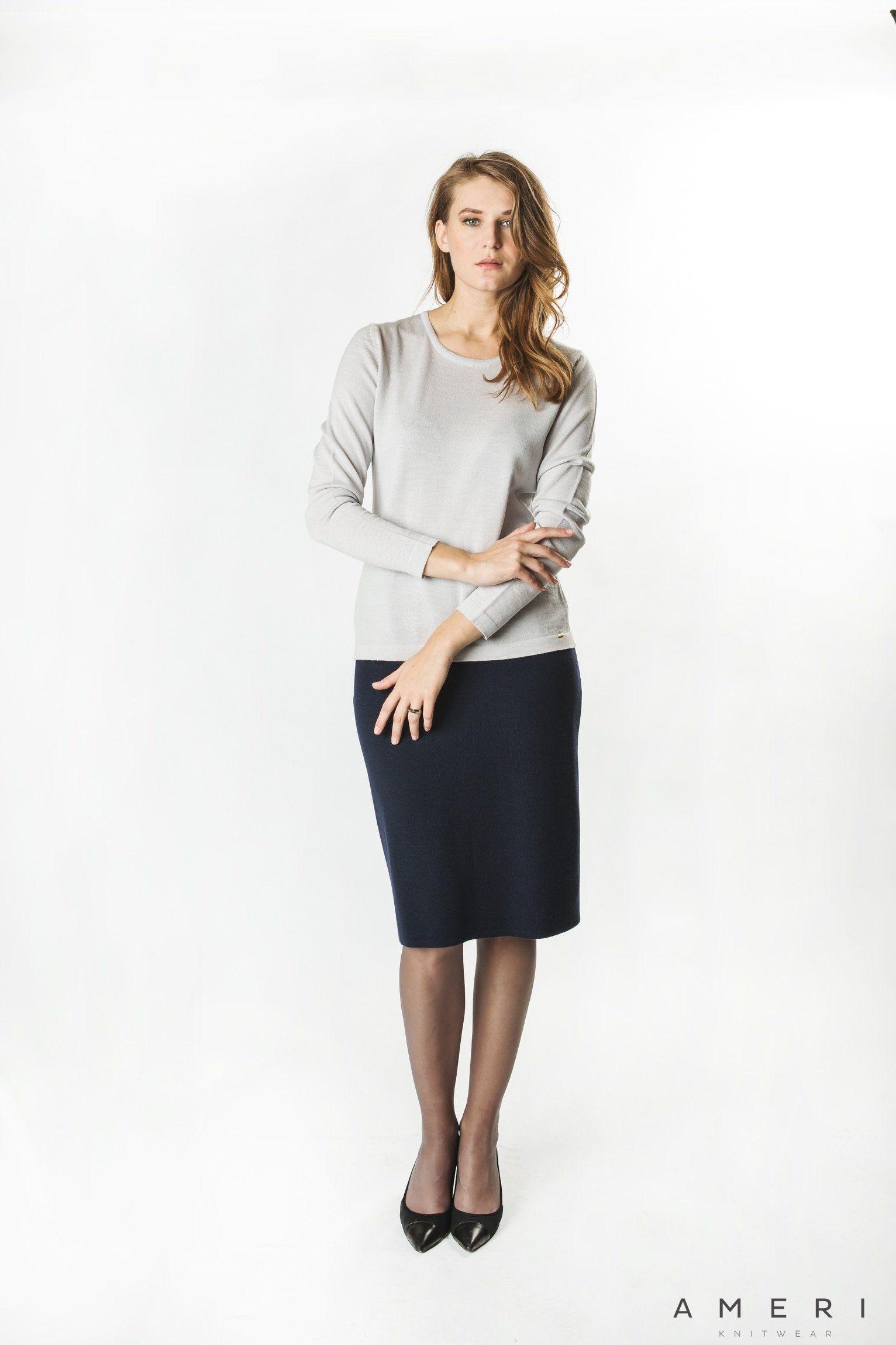Klasisks merino džemperis ar garām piedurknēm