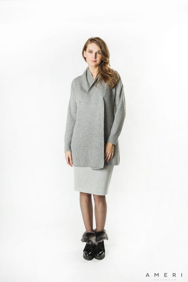 Cashmere Cross Up Neck Cardigan