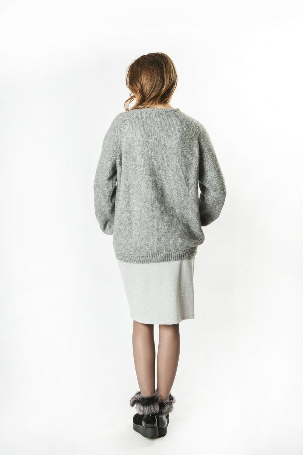 Alpaca Blend Loose Sweater with Tube Neck