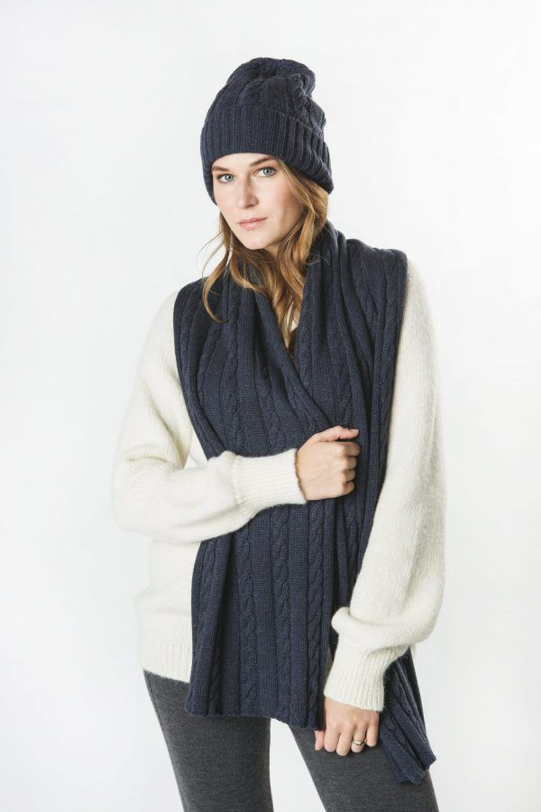 Wool Cashmere Plaited Scarf