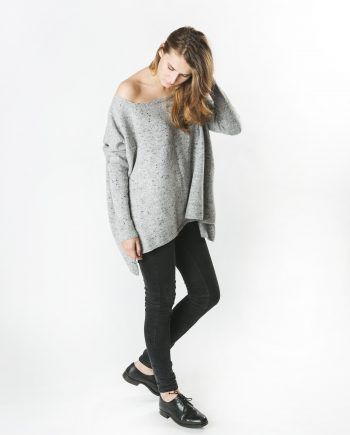 Wool Cashmere Loose Rib Sleeve Sweater
